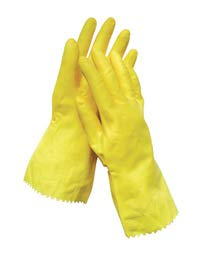 Radnor Small Yellow Flock Lined 16 mil Latex Chemical Resistant Gloves - 12 Pairs/Dozen (10 Dozen)