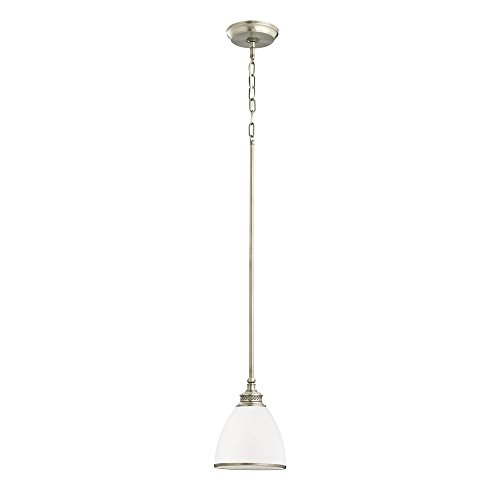 (Sea Gull Lighting 61350-965 Laurel Leaf One-Light Mini-Pendant with Etched Ripple Glass Shade, Antique Brushed Nickel)