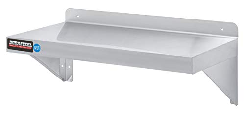 "Stainless Steel Wall Shelf by DuraSteel - 24"" Wide x 12"" Deep Commercial Grade - NSF Approved - Industrial Appliance Equipment (Restaurant, Bar, Home, Kitchen, Laundry, Garage and Utility Room)"