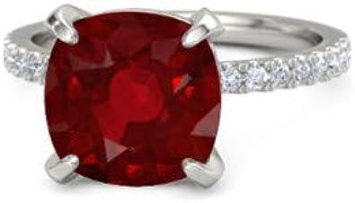 Forever Diamonds 5.10Ct Corte de cojín Piedras preciosas y talla redonda Diamante natural Anillos de boda para mujer Engageemnt Anillo de aniversario de oro sólido de 18 quilates