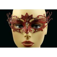 Laser Cut Venetian Halloween Masquerade Mask Costume Extravagantly Simple Inspire Design - Red w/ Rhinestones (Simple Venetian Costumes)