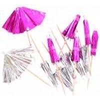 12 Pink & 12 Silver Foiled Party Cocktail Umbrellas Parasols