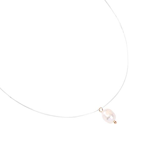 Haluoo_Jewelry Freshwater Pearl Pendant Necklace,Haluoo Fashion Dainty Oval Pearl Pendant Clavical Chain Minimalist Handmade Fine Transparent Fish Silk Chain Necklace for Women Ladies (Clear)