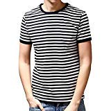 Ezsskj Men's Youth Short Sleeve Crew Neck Striped T Shirt Tee Outfits Tops Large Black