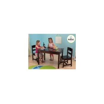 Amazon.com: KidKraft Rectangle Table and 2 Chair Set - Espresso ...
