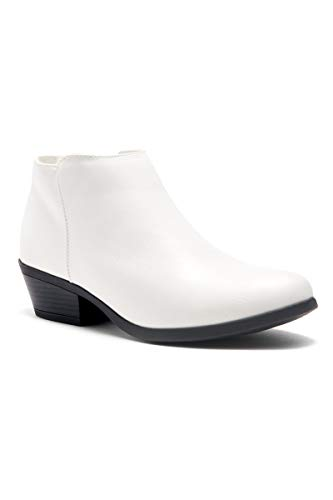Herstyle Chatter Women's Western Ankle Bootie Closed Toe Casual Low Stacked Heel Boots White 10.0