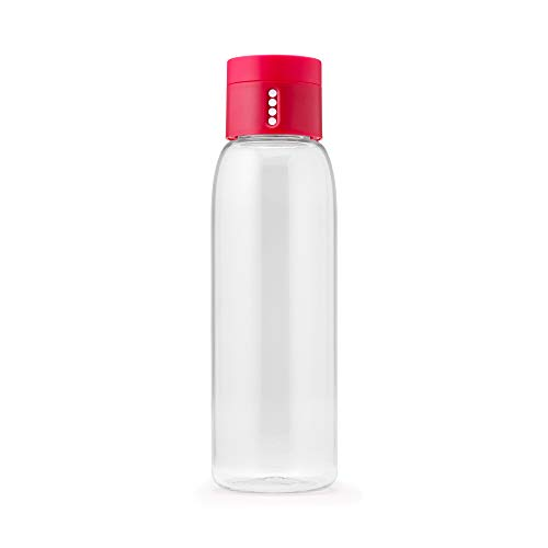 Joseph Joseph 81051 Dot Hydration-Tracking Water Bottle Counts Water Intake Tracks Consumption On Lid Twist Top, 20-ounce, Pink