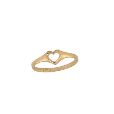 Girl's 14K Yellow Gold Open Heart Ring For Toddlers And Children (Size 2 1/2) by Loveivy