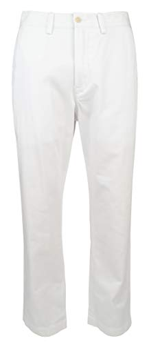 (Polo Ralph Lauren Men Classic Fit Flat Front Bedford Chino Pants, White (32x32))