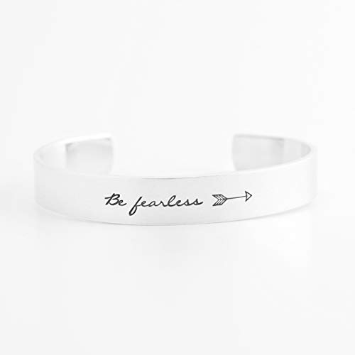 (Hand Stamped Be Fearless Arrow Cuff Bracelet - Aluminum)