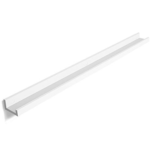SONGMICS Wall Shelf Floating Picture Shelving Ledge 46-inch Long, for picture frames and books, Modern Design Storage White ULWS46WT