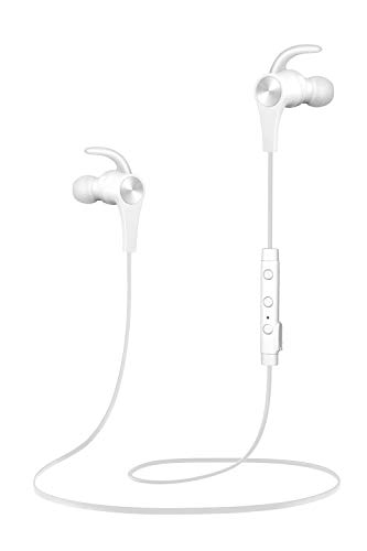 SoundPEATS Bluetooth Headphones in Ear Wireless Earbuds 4.1 Magnetic Sweatproof Stereo Bluetooth Earphones for Sports with Mic (8 Hours Play Time, Secure Fit, Noise Cancelling) (White)