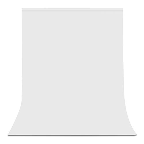 Muslin Background Solid White Color - UTEBIT 6 x 9FT/1.8 x 2.8M White Backdrop Polyester Fabric Background Cloth Wrinkle Resistant Photo Booth Screen Backdrops for Photography, Video, Television (Stand Not Included)