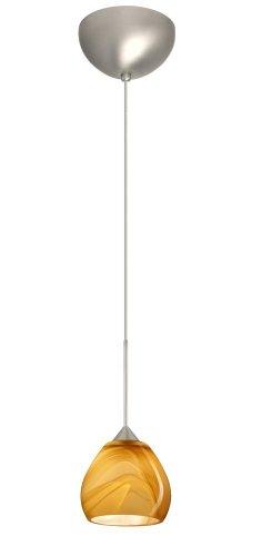 Besa Lighting 1XC-5605HN-SN 1X50W Gy6.35 Tay Tay Pendant with Honey Glass, Satin Nickel Finish ()