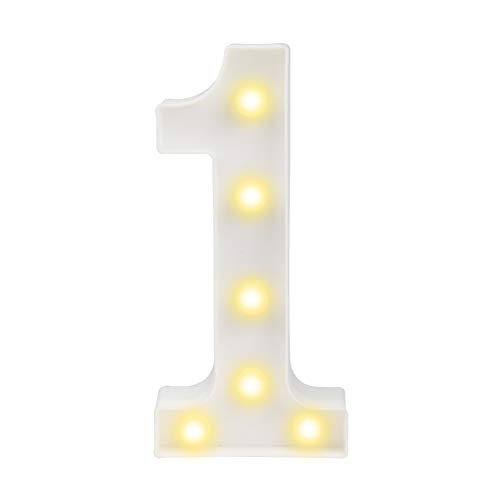 Pooqla Decorative Led Light Up Number Letters, White Plastic Marquee Number Lights Sign Party Wedding Decor Battery Operated Number (1) -