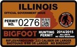 "Illinois IL Bigfoot Hunting Permit 2.4"" x 4"" Decal Sticker"