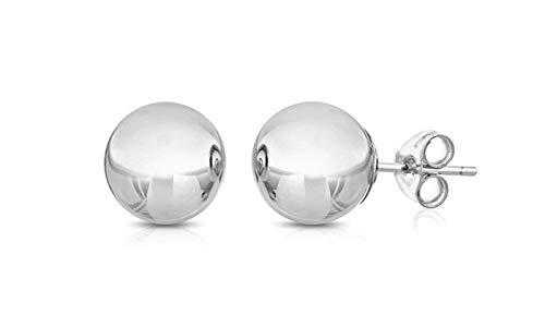 BSD 14K White Gold Ball Stud Earrings for Women | Studs With Push Backs | Real Hypoallergenic Jewelry and Accessories | 3mm - 8mm (White Gold Earring Brilliant)