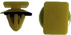 Hood Moulding Retainer - 12mm x 16mm Top Head Size; 10mm Stem Length; 14mm Overall Length; Fits into M8 Hole; Yellow Plastic with Seal (Pack of 25) (Moulding Hood Seal)