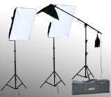 ePhoto VL9004BS2 2400 Watt Digital Video Continuous Lighting Stand Kit with Carrying Case with 2 Light and 1 Boom Stands, 12 total 45W 5500K Bulbs, 2 16x24-Inches and 1 16x16-Inch Softboxes by ePhoto