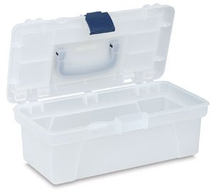 Pro-Art 12-Inch by 6-Inch by 5-Inch Translucent Art Box with Organizer Top, White and Navy Blue