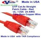 Ethernet Network Patch Cable Made in USA USA-0677-32 Ft UTP Cat5e SuperEcable UL 24Awg Pure Copper RED
