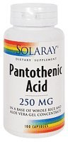 Solaray - Acide pantothénique 250mg-250 - Cap 100ct