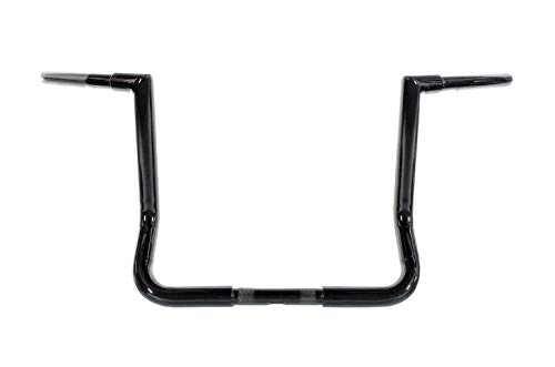 Dominator Industries 1 1/4 inch Miter Cut Bagger Ape Handlebar, 12 inch Rise, Gloss Black for 1996-2018 Electra Glide (FLH), Electra Glide Classic (FLHTC), and Street Glide (FLHX) (12 Inch Ape Hangers For Electra Glide)