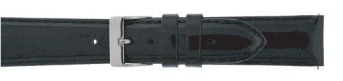Men's 18mm Black Genuine Patent Leather watch strap