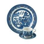 Cheap Churchill Blue Willow 3 Piece Dinner Set, Plate, Cup, Saucer