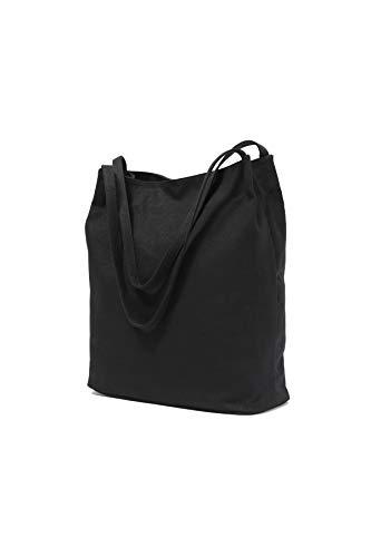 Black Canvas Market Tote Shoulder Bag Handbag Double Handle For Men And Women (Black) (Double Handle Handbags)