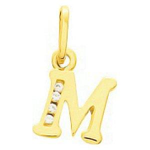So Chic Bijoux © Pendentif Lettre M Initiale Alphabet Oxyde de Zirconium Blanc Or Jaune 750/000 (18 carats)