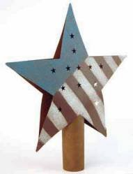 Factory Direct Craft Primitive Rusty Tin Americana Red White & Blue Star Tree - Christmas Star Red