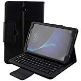 Samsung Galaxy Tab A 10.1 Case SM-T580/SM-T585 Keyboard Wireless Bluetooth Detachable Keyboard Magnetic Folio with Auto Sleep/Wake Multi-Angle Stand Slim Leather Protective Cover 2016 (Black)