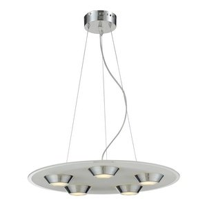 Nulco Chrome Chandelier - Elk Lighting Brentford LED 5-Light Pendant, Polished Chrome