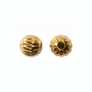 Beadaholique MBR06GP Fluted Round Metal Beads, 6mm, 22K Gold Plated ()