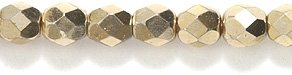 (Preciosa Czech Fire 4 mm Faceted Round Polished Glass Bead, Full Coat Gold, 200-Pack)