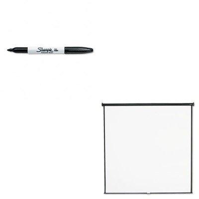 KITQRT696SSAN30001 - Value Kit - Quartet Wall or Ceiling Projection Screen (QRT696S) and Sharpie Permanent Marker (SAN30001)