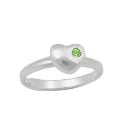 Girls Sterling Silver Simulated August Birthstone Heart Ring Adjustable Size 3 To 7