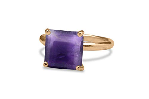 Gorgeous February Birthstone for Birthday Gift Fashionable Statement Jewelry 6th Anniversary Gifts Anemone Jewelry Amethyst Ring in 925 Sterling Silver with Gift Box
