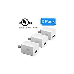 USB Wall Charger for iPhone, Vogek UL Listed 5V/1A Universal Portable Travel Adapter Wall Charger Rapid 1.0A Output for iPhone iPad iPod Google Pixel Nexus HTC LG Nokia-3 Pack