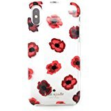 Kate Spade New York Protective Rubber Case For iPhone X red floral champagne logo