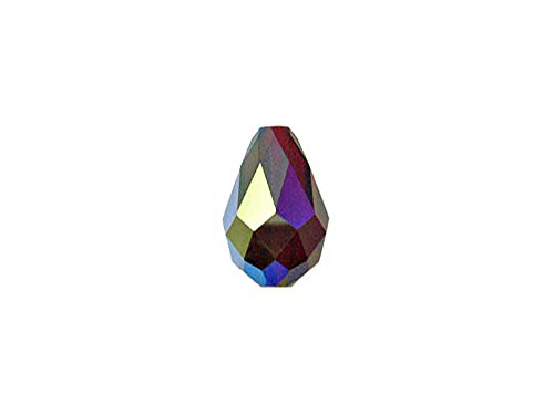 Swarovski Crystal 5500 Faceted Teardrop Beads 9x6mm, Siam AB, Wholesale Packs | Pack of 72