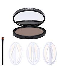 Pretty See Waterproof Eyebrow Stamp Natural Eyebrow Powder Delicate Brow Powder with 3 Stencils, Bright Brown