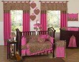 Sweet Jojo Designs 9-Piece Cheetah Animal print Pink and Brown Baby Girl Bedding Crib Set Cheetah Print Bedding