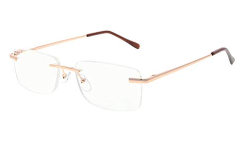 - Eyekepper Mens Womens Spring Hinges Rimless Reading Glasses Gold +1.75
