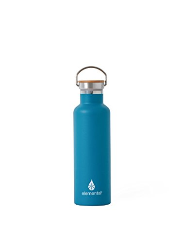 - Elemental Stainless Steel Water Bottle 25oz (750ml) Premium Double Wall Insulated Vacuum Bottle with Bamboo Cap (Teal)