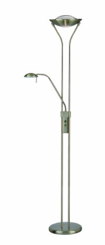 Brass Torchiere Antique Lamp (Lite Source LS-80984AB Floor Lamp with Frosted Glass Shades, 20