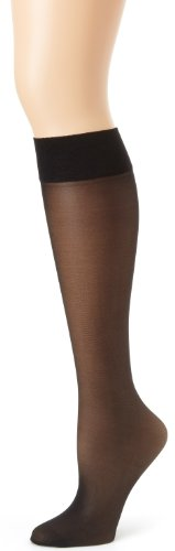 Hanes Silk Reflections Women's Alive Full Support 2 Pack Sheer Knee Highs, Jet, One Size (Black Fishnet Knee Highs)
