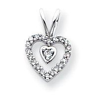 Or blanc 14carats Diamant 0,25ct Coeur Pendentif Vintage