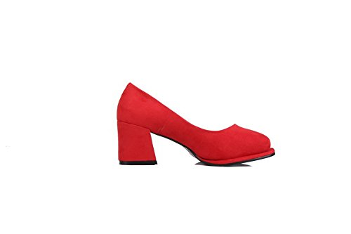 AllhqFashion Mujer Gamuza(imitado) Slip-on Tacón medio Puntera Redonda Esmerilado ZapatosdeTacón Rojo